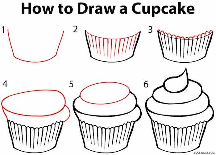 Wie zeichnet man Cupcakes, Anleitung in sechs Schritten für Anfänger, leichte Zeichnungen