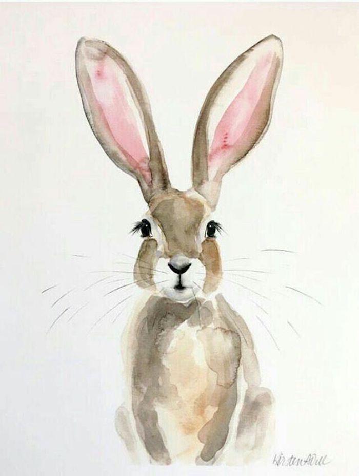 Wie zeichnet man einen Hasen, mit Aquarellfarben malen lernen, süßes Bild zum Nachmalen
