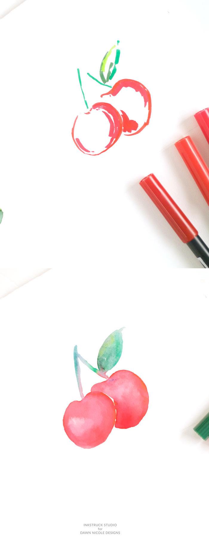 Wie zeichnet man Kirschen mit Filzstiften und Aquarellfarben, Anleitungen für Anfänger