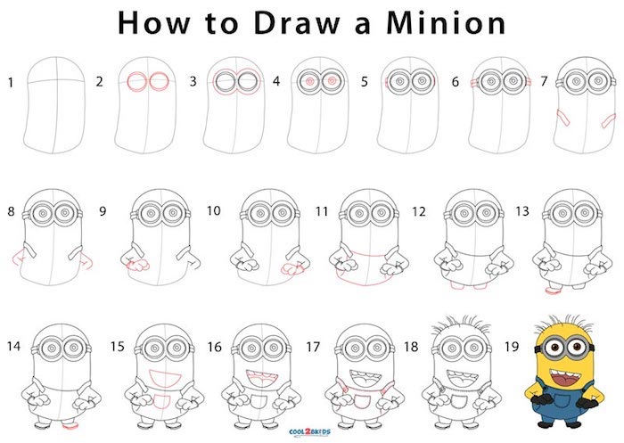 Wie zeichnet man Minion, ausführliche Anleitung in neunzehn Schritten für Anfänger