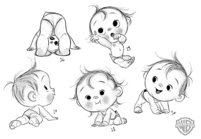 Süßes Baby mit Bleistift zeichnen, schöne Bilder zum Nachzeichnen, fünf verschiedene Variationen