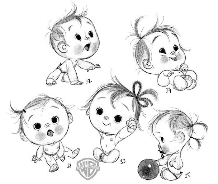 Süßes Bild zum Nachmalen, wie zeichnet man ein Baby, fünf verschiedene Varianten