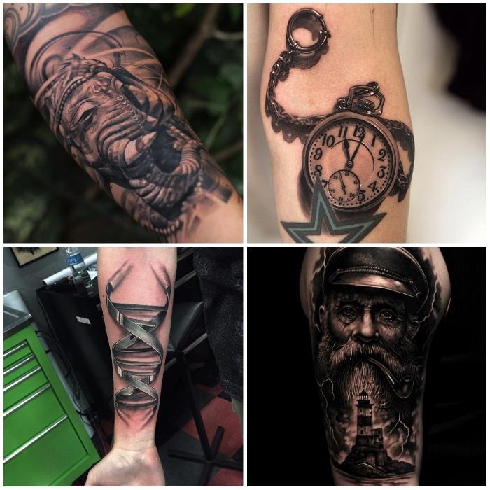 tattoo 3d, schwarz graue tätowierungen, mann mit langem bart, indischen elefant, uhr mit stern