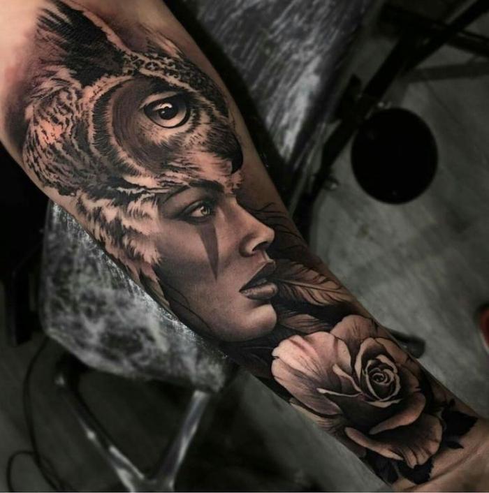 tattoo bilder arm, frau in kombiantion und eule und weißer rose, 3d tätowierung