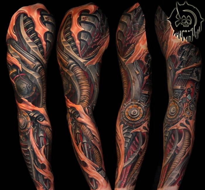 tattoo bilder arm, farbiges sleeve tattoo mit maschinenteilen als motiven, cyborg