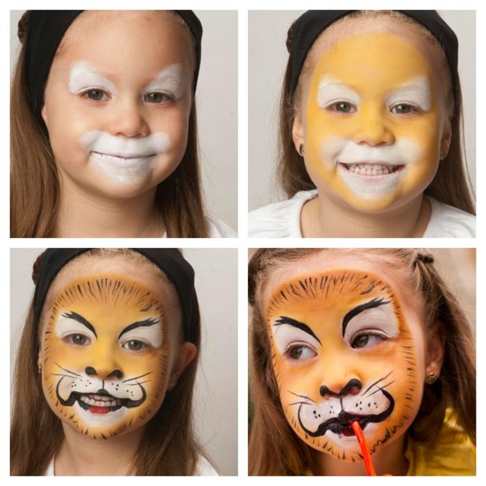Halloween Schminken, ein Mädchen mit Schminke von Tiger, Schritt für Schritt Anleitung