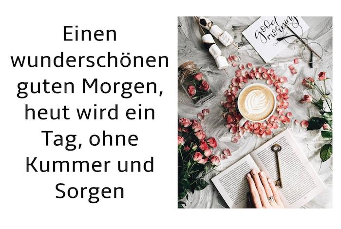 brille und ein buch, kleiner schlüssel und eine hand, tisch mit einer weißen tasser mit kaffee und vielen roten und pinken rosen