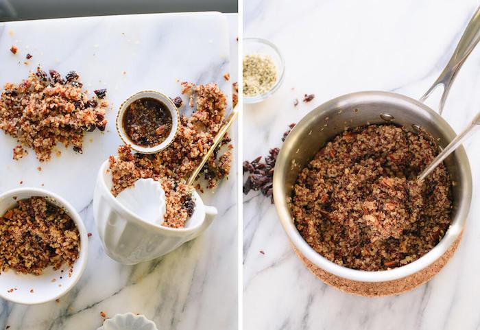 gerichte mit quinoa, schüssel ideen müsli, schokolade, marmor tisch