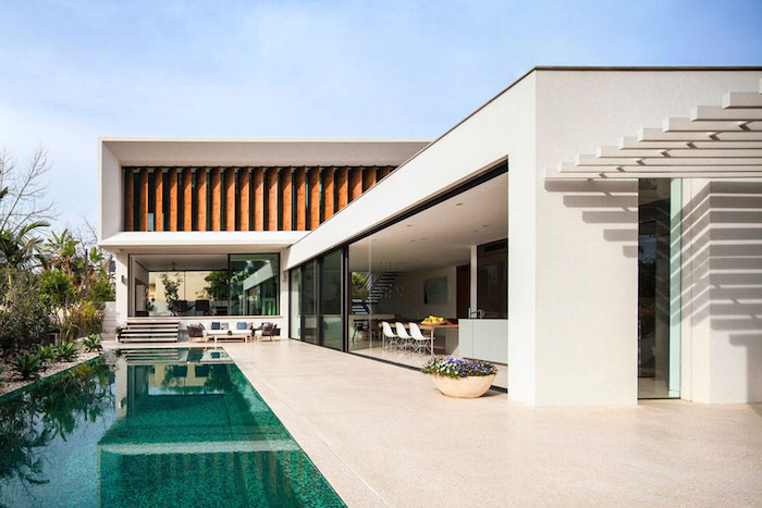 moderne häuser baune, coole designer ideen für architektur und gartenpflege, pool zu hause
