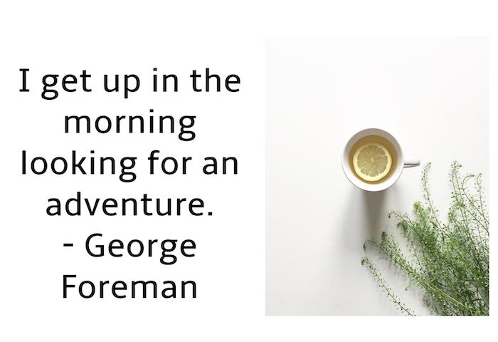 bild mit einem guten morten spruch, weißer tisch und kleine weiße tasse mit tee mit einer gelben zitrone und mit vielen grünen pflanzen mit grünen blättern, guten morgen spr´che zum nachdenken