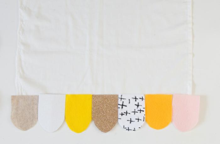ein Beispiel für die Reihe der bunten Stoffstücke, Ideen für Hochzeit, DIY Projekte