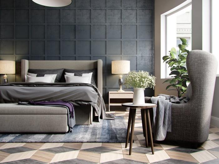 wohnungseinrichtung ideen, schlafzimmer möbel set in grau, 3d wand, weiße vade mit blumen