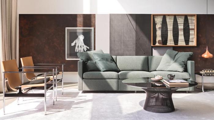 wohnungseinrichtung ideen, grünes sofa, runder kaffeetisch, bilder über dem sofa, wanddeko