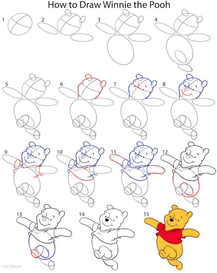 Wie zeichnet man Pu den Bären, ausführliche Anleitung in fünfzehn Schritten für Anfänger