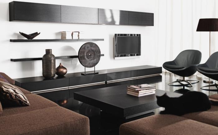 zimmer deko in schwarz und kupfer, moderne möbel, wohnzimmer gestalten, vasen