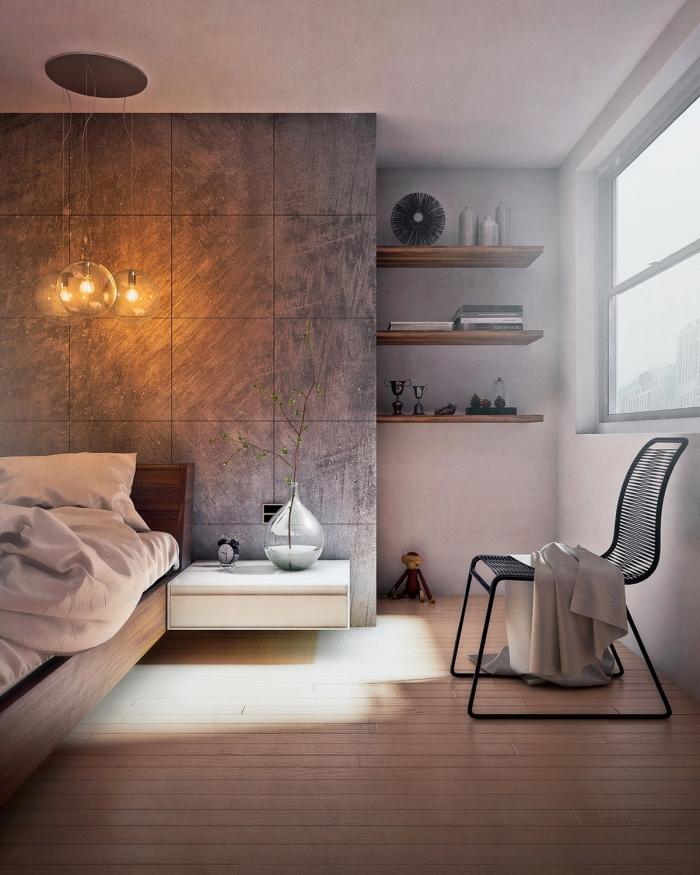 schlafzimmer gestalten, zimmer einrichten ideen, runde lampe, wandfliesen in beton optik, schwarzer stuhl