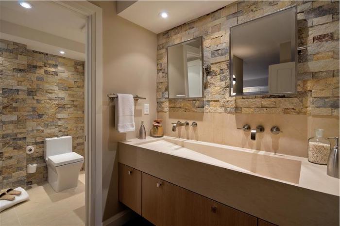 badezimmergestaltung in naturfarben, zimmer einrichten ideen, großes langes wachbecken