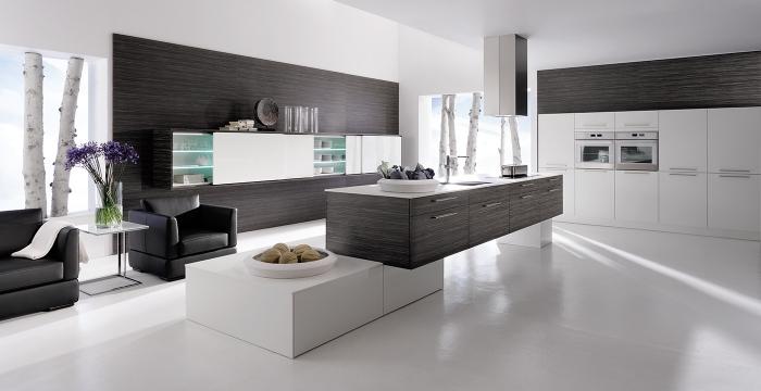 zimmer einrichten ideen, küche in weiß und anthrazit, weißer boden, designe möbel set