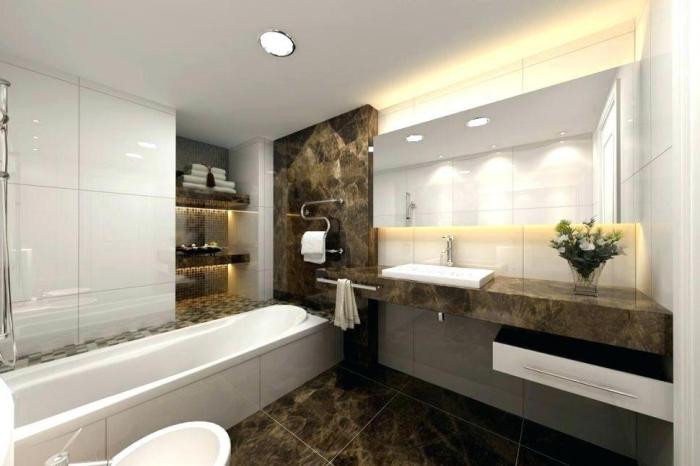 badezimmergestaltung in weiß und braun, fliesne mit marmor muster, zimmer gestalten, led beleuchtung