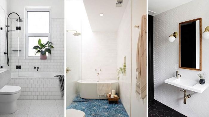zimmer gestalten, badezimmr einrichtungsideen, weiße fliesen, langer eckiger spiegel, wanne