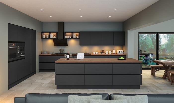 zimmer gestalten, moderne kücheneinrichtung in anthrazit, kpchenbeluchtung, einrichtungasideen