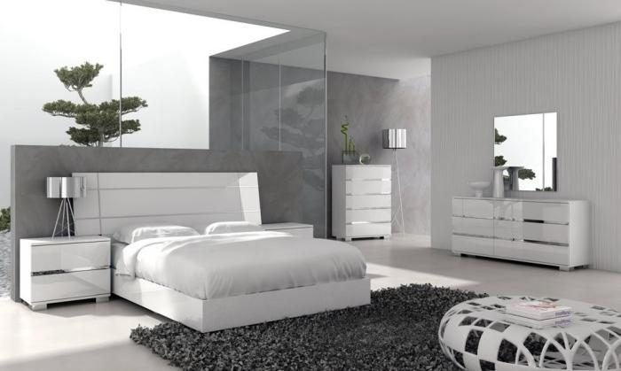 moderne schlafzimmermöbel in weiß, zimmer ideen, graue wände, flauschiger teppich
