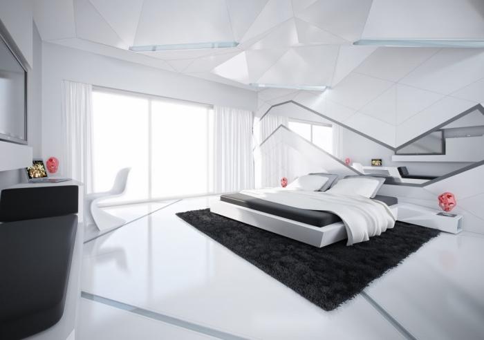 zimmer ideen, schlafzimmer in minimalistischem design, geometrische motive, schwarzer teppich
