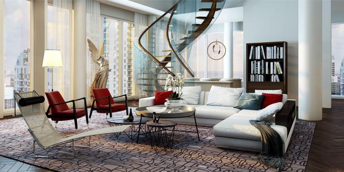 zimmer ideen, teppich mit geoemtrischen elementen, weißes sofa, rote sessel und dekokissen