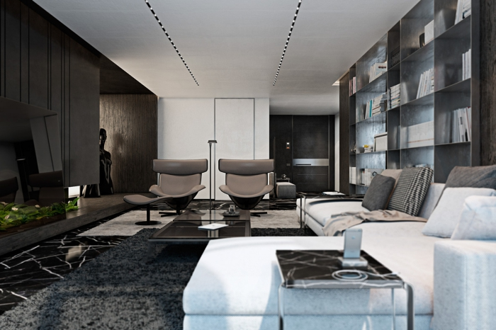 wohnzimmer einrichten, zimmer ideen, einrichtung in weiß und schwarz, grauer teppich