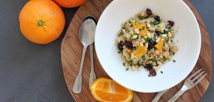 vegane glutenfreie rezepte ideen, orange mit quinoa und honig, leckere rezepte