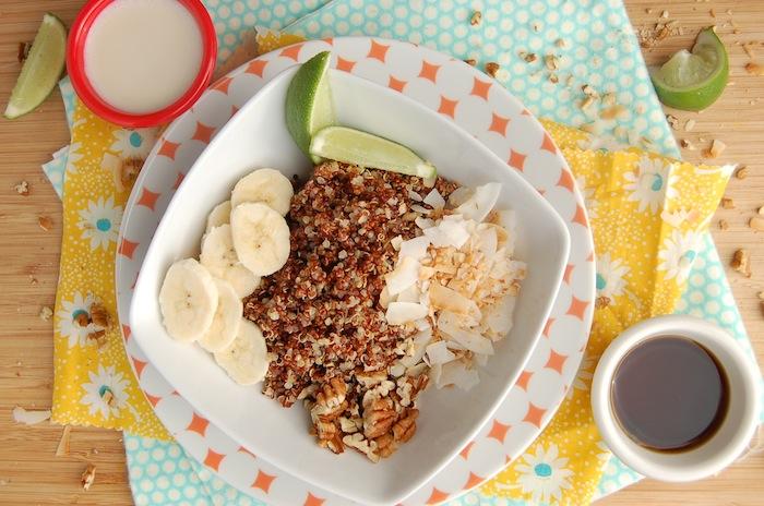 quinoa rog essen, in wasser für eine nacht lassen am morgen damit frühstücken, kaffee, banane, zitrone