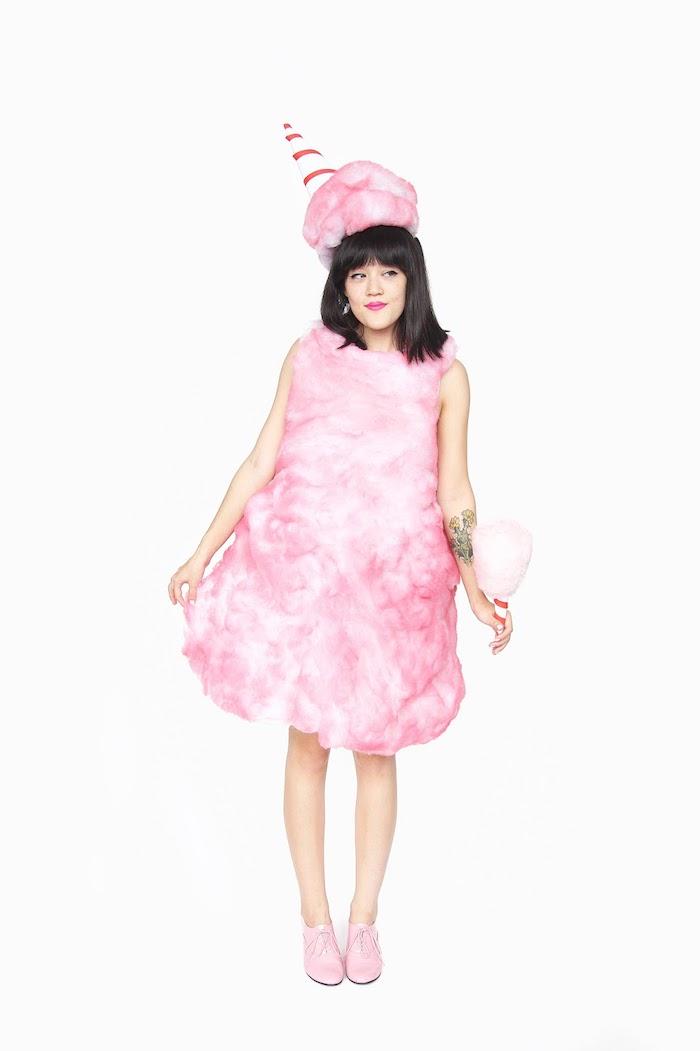 Halloween Kostüm für Damen Zuckerwatte, Kleid und Mütze, lustige Last Minute Kostüme