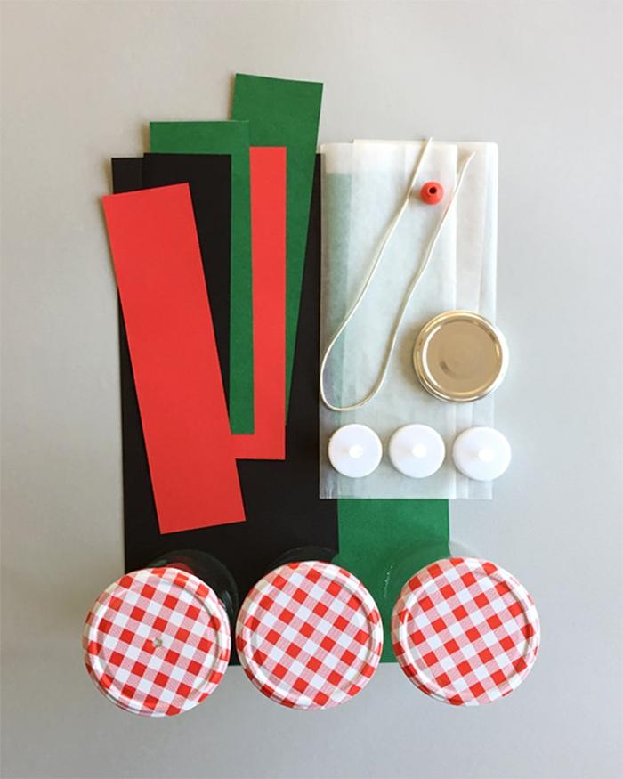 die nützlichen Sachen, eine Laterne herzustellen, grüne und rote Streifen, Laterne Bastelset