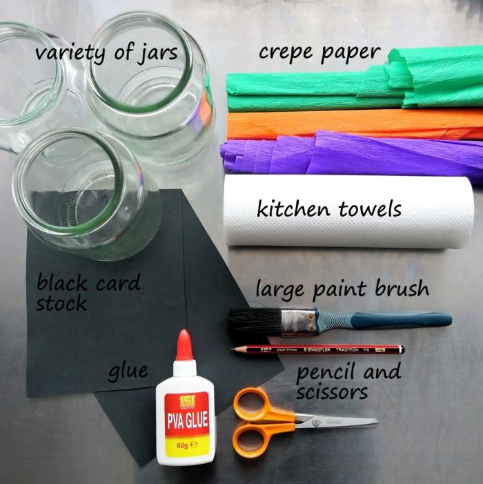 alles, was Sie brauchen um Laterne für Kinder herzustellen, Kreppapier, Weckgläser
