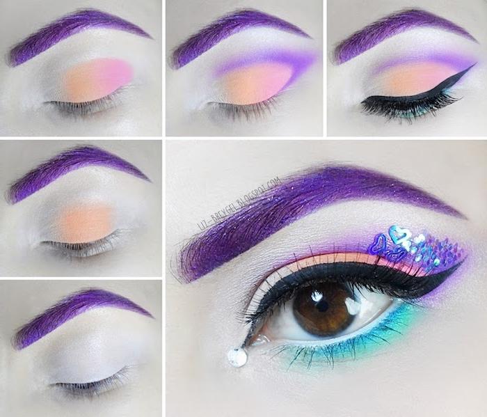 eine schritt für schritt anleitung für eine einhornschminke für frauen, eine auge mit violettem lidschatten und einem schwarzen lidstricht und glitter mit kleinen blauen herzen