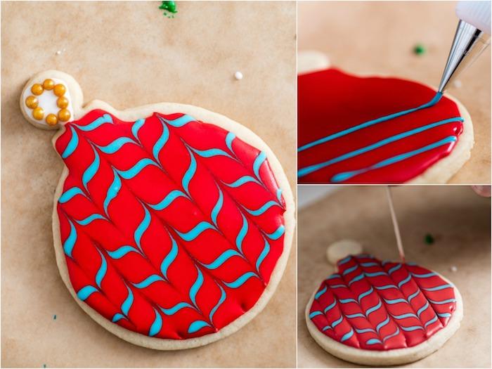 Plätzchen selber backen und mit Glasur dekorieren, rote Christbaumkugel mit blauen Streifen