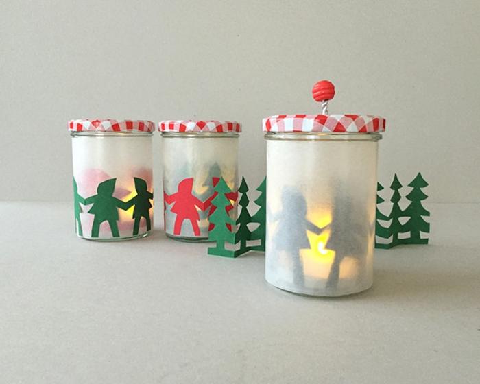 drei Weckgläser, die als weihnachtliche Laternen dekoriert sind, Laterne, Bastelanleitung Laterne