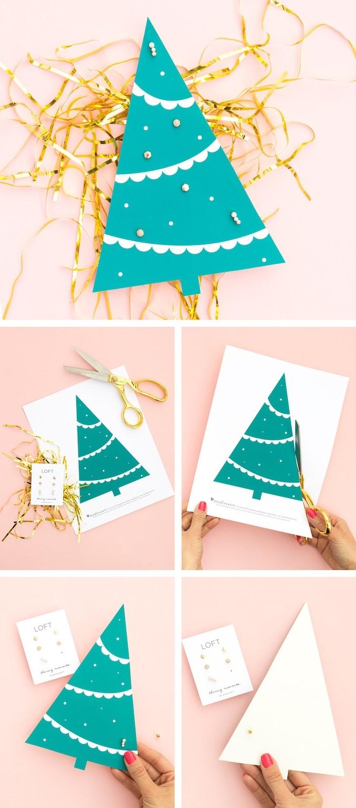 Kleines Christbäumchen aus Papier ausschneiden, Ohrringe darin stechen, tolle Idee für Weihnachtsgeschenk