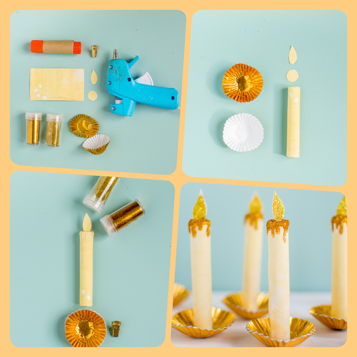 Kerzen aus Papier selber machen, DIY Anleitung in vier Schritten, Weihnachtsschmuck selber basteln