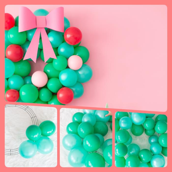 Schöne Alternative zum klassischen Weihnachtskranz, Kranz aus kleinen Ballons mit Schleife aus Papier