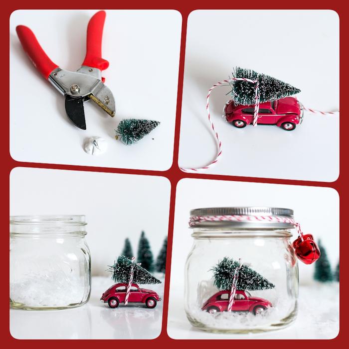 Schneekugel aus Einmachglas selber machen, kleines Christbäumchen und Spielzeugauto darin stecken