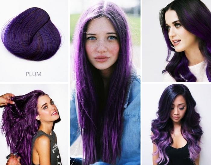 pflaumenfarbe lila haare mit verschiedenen nuancen kombinieren, platinum blond und lila oder blau und lilafarbideen