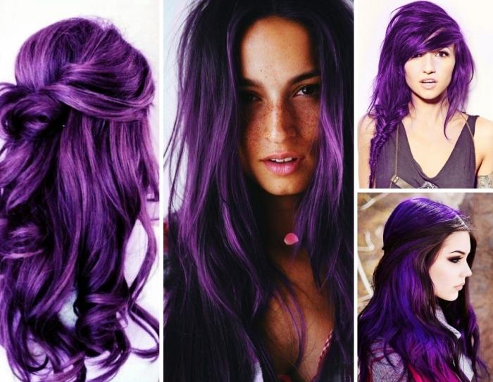 lila haare mit verschiedenen frisuren vier ideen, lockige haarfrisuren, glattes haar