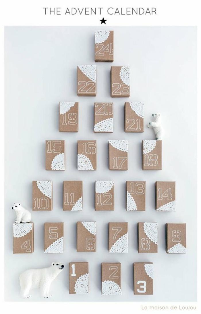 kleine Schachtel mit Spitzen geschmückt, Streichholzschachteln mit Nummern, Adventskalender Ideen