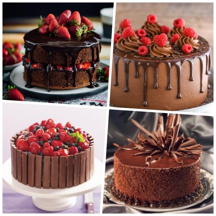 deko für torten mit schokolade, süßigkeiten torte mit erdbeernen und blaubeeren, himbeeren
