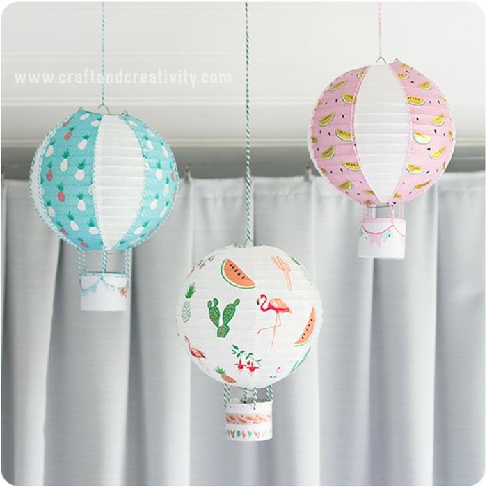 rosa, blauer und weißer Luftballon mit verschiedenen Motiven, Laterne Bastelset