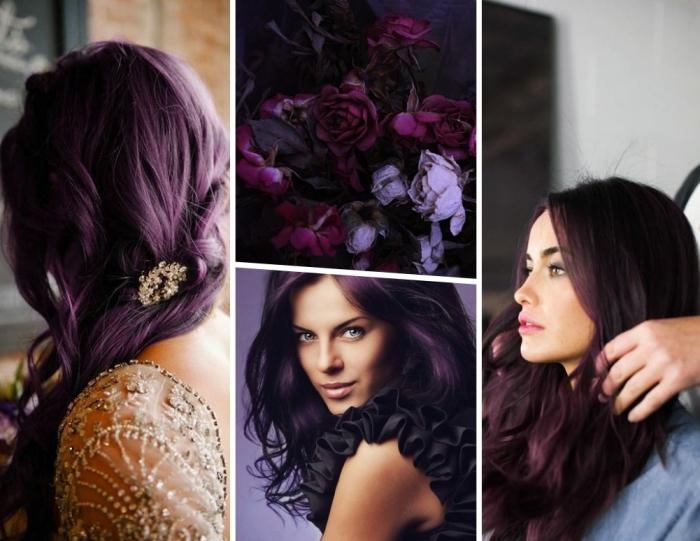 bunte haarfarben ideen und gestaltungen, collage vier bilder, blumen pfingstrosen in lila und dunkelrosa, damenfrisuren, elegantes outfit