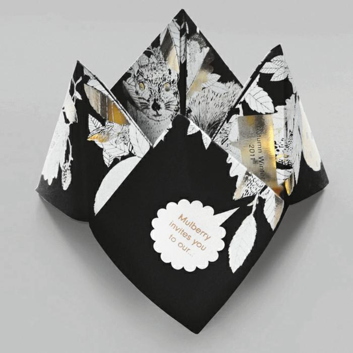 eine schwarze Karte wie eine Mühle, mit Zeichnungen von Tieren, ausgefallene Einladungen selber basteln