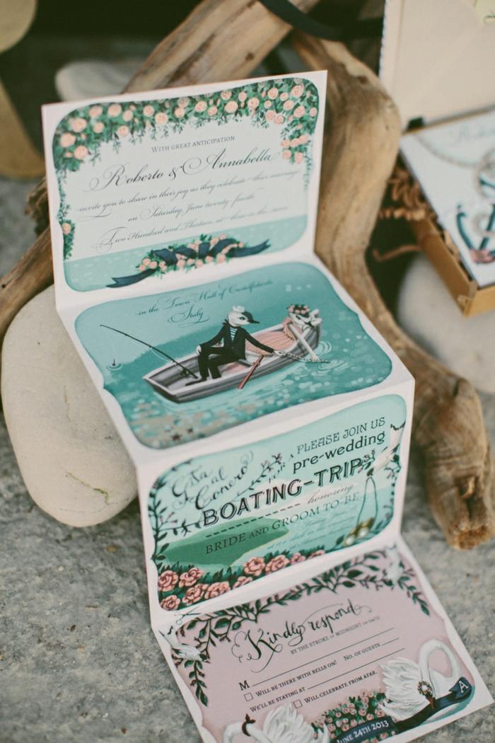 eine rollbare Einladung zu Boot Fahren, Einladungskarte drucken, viele schöne Abbildungen
