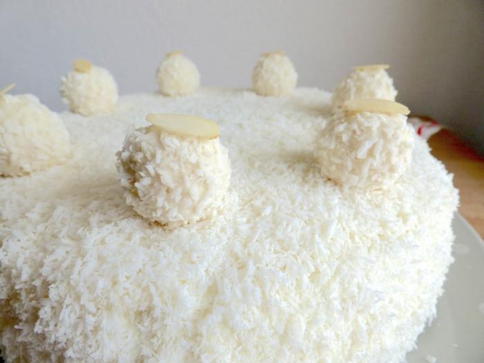 Kokosraspeln und Raffaello Pralinen, Makadamia Nüsse, eine kleine Torte selber machen